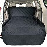 xc60 cargo cover - F-color Cargo Liner for SUV, Waterproof Pet Cargo Cover Dog Seat Cover Mat for SUVs Sedans Vans with Bumper Flap Protector, Non-Slip, Large Size Universal Fit, Black