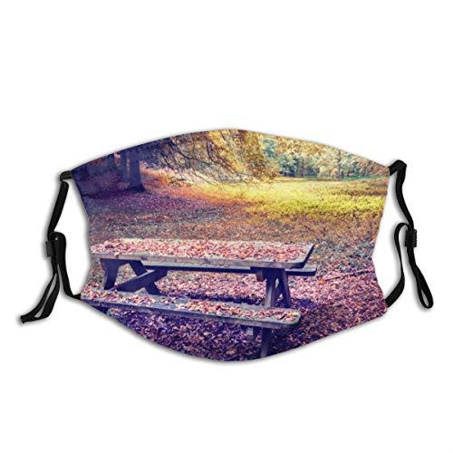 Popsastaresa Einsamer Picknickplatz im Herbstwald,Staubwaschbarer wiederverwendbarer Filter und wiederverwendbarer Mundschutz gesicht
