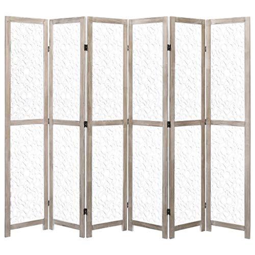 vidaXL Biombo de 6 Paneles Madera Maciza Divisor y Privacidad Delicada Atractiva Solución Ideal Elegante Decoración Partición Útil Blanca 210x165cm