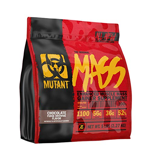 Mutant Mass Weight Gainer Protein Powder – Build Muscle Size and Strength with 1100 Calories – 56 g Protein – 26.1 g EAAs – 12.2 g of BCAAs – 5 lbs – Chocolate Fudge Brownie