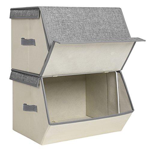 SONGMICS 2 Stück Faltbox mit Deckel, Faltbare Kinder Spielzeugkiste, stapelbare Aufbewahrungsboxen mit Magnetverschluss und Einer Stütze aus Eisendraht, 38 x 25 x 35 cm, grau, RLB02G, Stoff, Beige
