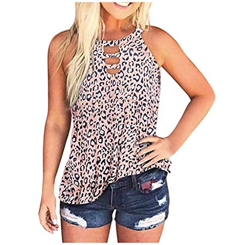 Camiseta sin mangas para mujer, estilo informal, moderna, para verano, cuello redondo, corbata, colorido, estampado de leopardo, blusa, camiseta, chaleco, túnica