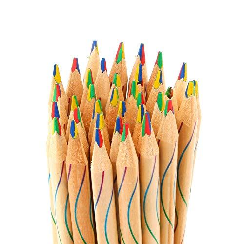 Lxyfc Hoge kwaliteit 10 / Lot DIY Leuke Kawaii Regenboog Gekleurde Houten Kleurpotloden Houten Potlood Tekening Graffiti Schilderij School For Kinderen Makkelijk mee te nemen dc