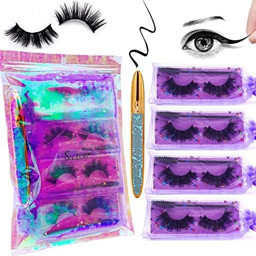 3D Mink Natural Eyelashes with Magic Eyeliner Glue Pen Kit, No Magnetic Eyeliner with 4 Pack Eye Lashes Natural Look Set, Full Strip Wispies False Eyelashes, Fake Fuax Mink Eye Lashes with Mascara Brush Set in Package (C)
