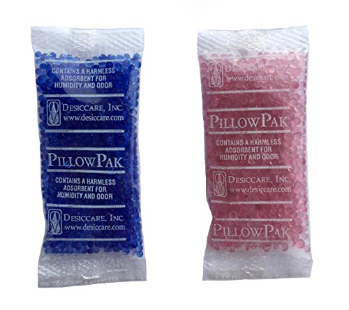 INTERTECK PACKAGING 2 Gram Silica Gel Packets - Blue to Pink, Rechargeable Desiccant Packets and Dehumidifiers (Indicating, 100 Pack)