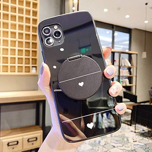 AAA&LIU Estuche de Vidrio para iPhone 11 Pro MAX SE 2 XS X XR 8 7 6 6S Plus Estuches para teléfono con Soporte de corazón Lindo Regalos con Espejo de Maquillaje, Negro, para iPhone 6 Plus