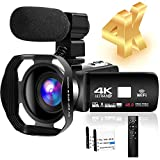 4K HD Camcorder 48MP 30FPS 18X Digital Zoom Video Camera for YouTube Camcorder 3.0 inch Touch Screen...