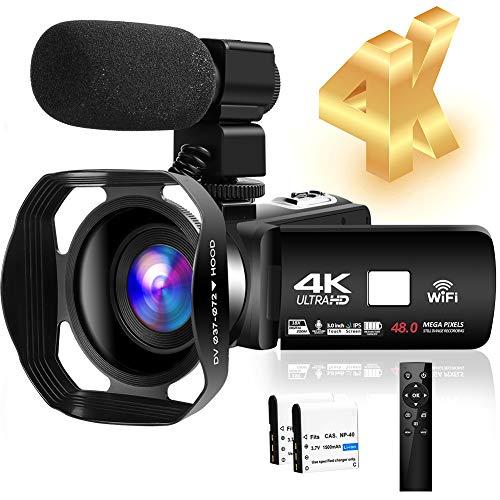 4K HD Camcorder 48MP 30FPS 18X Digital Zoom Video Camera for YouTube Camcorder 3.0...