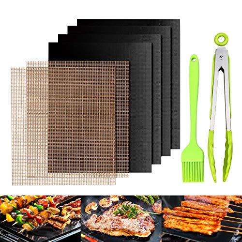 Tappetino da Barbecue 50 x 40 cm, SGODDE Set di 8 Rete per Griglia in Teflon FDA + Tappetino per Barbecue Riutilizzabile, con Pinze e Spazzola, 100% Antiaderente, Facile da Pulire, per Forno, Carbone