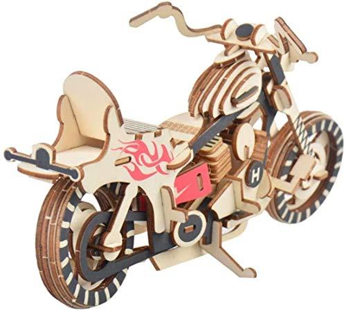GXT Puzzle Puzzle Creative Assembly Juguete De Madera Harley Niños Motocicleta y Niños Tridimensional Juguete Adornos Concentración