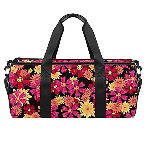Bolsa de gimnasio de flores rojas para hombres y mujeres bolsas de fin de semana bolsa de viaje con bolsillo impermeable
