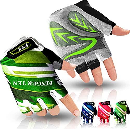 Amrta Fahrradhandschuhe Kinder MTB Jungen Mädchen 2-11 Jahre Roller Skate Sport Handschuhe (Halbfinger Grün, S)