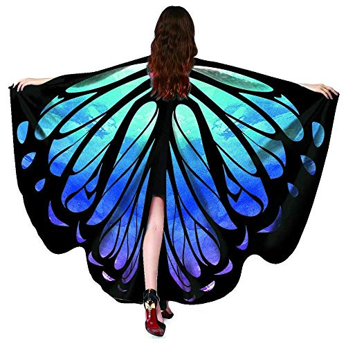 Shireake Baby Halloween Party Prop Soft Fabric Butterfly Wings Shawl Fairy Ladies Nymph Pixie Costume Accessory … (168x135CM, Star Sky)