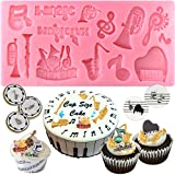 Funshowcase Mini Musical Instruments Clef Notes Silicone Candy Mold for Cake Decoration, Clay, Crafting