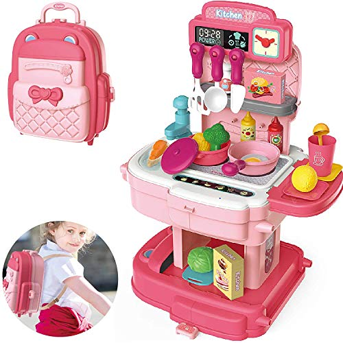 Play Kitchen Backpack 2 in 1 Kitchen Pretend Play Toys Including Faucet with Running Water Removable Kitchen Playset and Easy to Store Kids Kitchen Sets for Girls