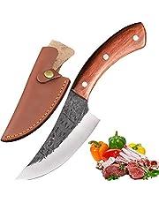 Promithi Japans mes koolstofstaal damast handgemaakt keukenmes hakmes scherp met mantel, gebruikt voor chopper botten vleesmes, houten handvat