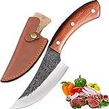 Coltello da cucina fatto a mano Promithi, coltello per disossare, coltello per disossare con cappello, usato per macellaio e tritatutto, manico in legno (marrone)