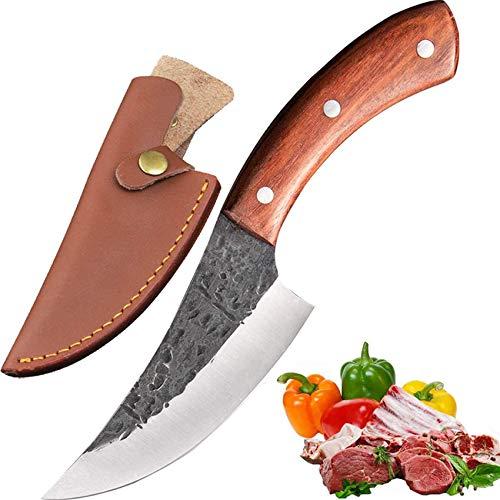 Promithi handgemachte Hackmesser Kochmesser Küchenmesser metzgermesser Ausbeinmesser mit Mantel, verwendet für hackbeil Metzger Chopper entbeinen, holzgriff (Brown)