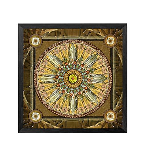 Mandala Thangka Yoga Retro Poster Kunst Leinwand Malerei Wohnzimmer Dekoration Wandbild rahmenlos 40x40cm