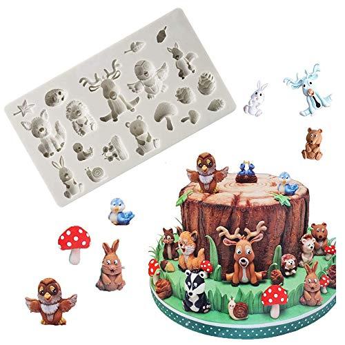 Tierformen Silikon Schokoladenformen Wald Tiere Silikonform DIY Backen Fondant Formen Silikon Kuchenform Wald Kuchen Dekorative Mold für DIY Tierformen (Eichhörnchen Kaninchen Sika Hirsch Igel Pilz)