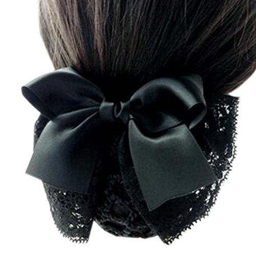 Maillot élastique à la mode pour dames Maillot de cheveux Hair Snood Bowtie Mesh, 3 noir