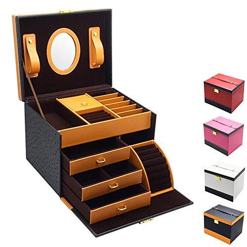 Caja de joyería, Caja de joyería portátil 24.3 * 19.5 cm, Caja de joyería portátil de Cuero PU, se Utiliza para Pulseras, Collares, Anillos, Horquillas,Negro