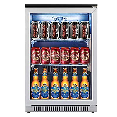 Advanics 20 Inch Wide Frost Free Beverage Refrigerator and Cooler, 110 Can Mini Fridge with Led Lighting for Beer Soda or Wine, Small Drink Center for Office or Bar, Stainless Steel & Glass Door