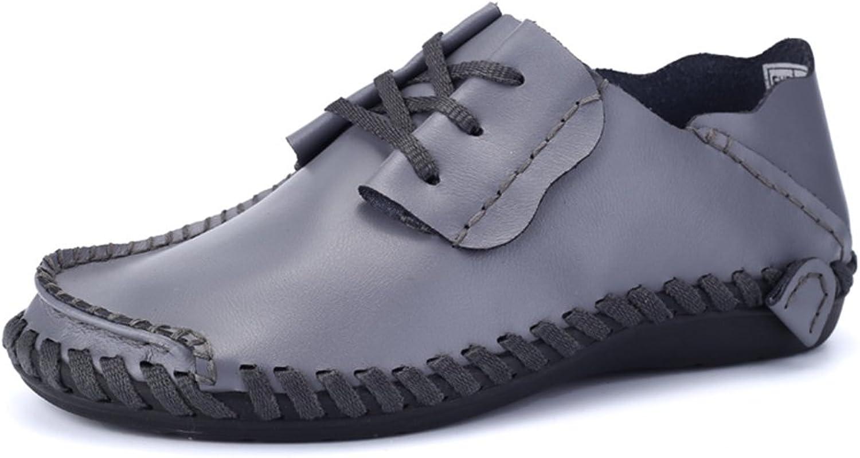 CHENDX Schuhe, Klassischer Leichter Lader für Herren Flache Ferse Schnürung Atmungsaktive Normallack-Business-Schuhe bis Größe 47 (Farbe   Grau, Größe   43 EU)