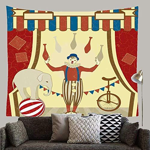 N / A Disfraz Rojo Vintage Joggles Elefante Abstracto Actos de Circo Payaso Malabarista Carnaval Carpa Monociclo Diseo Tapiz Personalizado Tapiz para Sala Colcha Sala de Estar