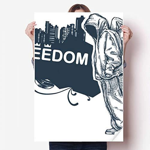 DIYthinker Hip-Hop Liberté Religion Motif Ange Vinyle Autocollant de Mur Poster Mural Wallpaper Chambre Decal 80X55Cm 80Cm X 55Cm Multicolor