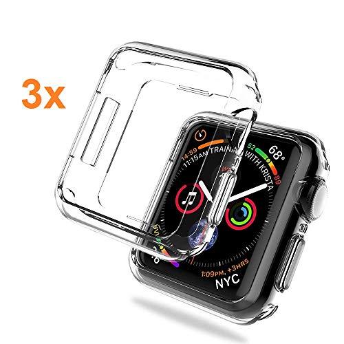 REY - Pack 3X Cover in Gel TPU Trasparente per Apple Watch Series 4 44mm - Series 5 44mm, Ultra Sottile 0,33 mm, Morbido Flessibile, Custodia Silicone