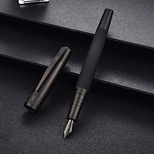 Hongdian 6013 - Penna stilografica nera opaca con confezione regalo in metallo, colore: Titanio nero