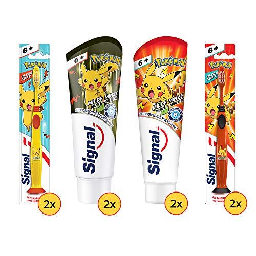 Signal Junior Zahnpflege-Set für Kinder ab 6 Jahren:4x Zahnpasta Junior 75ml &4x Zahnbürste Junior, Design für Jungs geeignet