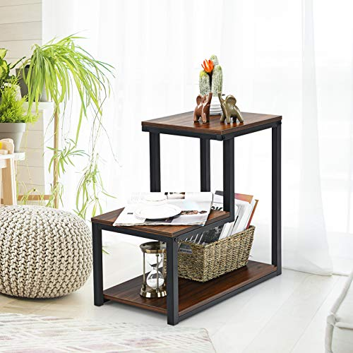 Tangkula 3-Tier Sofa Side Table, Nightstand with Storage Shelf, Sturdy Metal Frame, Ladder-Shaped Chair Side Table, Brown Tabletop Storage Shelf for Living Room or Bedroom (Brown)