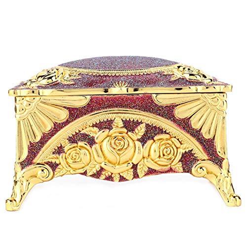 EVTSCAN Joyero, Aleación de Zinc Estilo Europeo Joyero Retro clásico Royal Court Rose Renovar Contenedor de joyería(Vino Rojo)