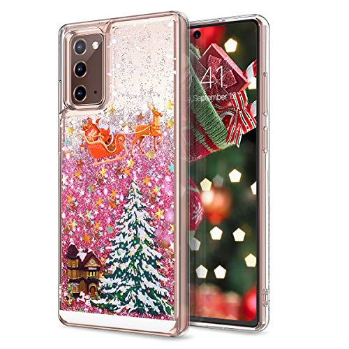 CinoCase Galaxy Note 20 Case 3D Liquid Case [Christmas Collection] Flowing Quicksand Moving Stars Bling Glitter Snowflake Christmas Tree Santa Pattern Hard Case for Galaxy Note 20 6.7 inch Pink