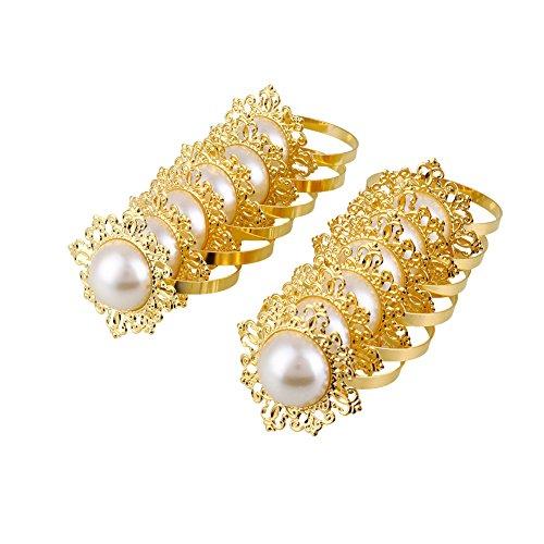 Kicode luxuriöse 12st Perle Gestaltet Serviettenring-Halter für Dinner Party Wedding Banquet Tischdekoration