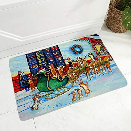 ZRY Alfombra Clásica De Dibujos Animados Patrón De Navidad Alfombra Antideslizante Pasillo Alfombra De Puerta De Baño Alfombra De Franela Moderna Y Sencilla Área Familiar Alfombra De Dormitorio