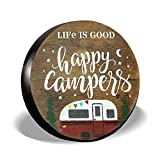 Spare Tire Cover Life Is Good Happy Camper Camping PVC Leather Waterproof Universal Wheel Tire Covers for Jeep Trailer RV SUV Truck Camper Travel Trailer Accessories (15 inch for diameter 27'-29')
