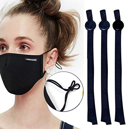 Black Sewing Elastic Mask Band with Adjustable Buckle for Adult/Children, Adjustment Elastic Ear Loop Strap Stretchy Cord Lock Earmuff Rope for Mask Sewing Black Adjustable 100PCS