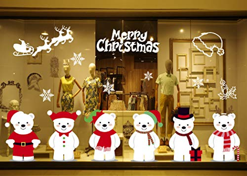 UMIPUBO Natale Vetrofanie Addobbi Natale Adesivi Rimovibile Adesivi Murali Fai da te Finestra Sticke (Natale)
