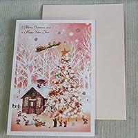 メルヘンクリスマスカード『ピンクの森のクリスマスツリー』から村に向かうサンタのそり