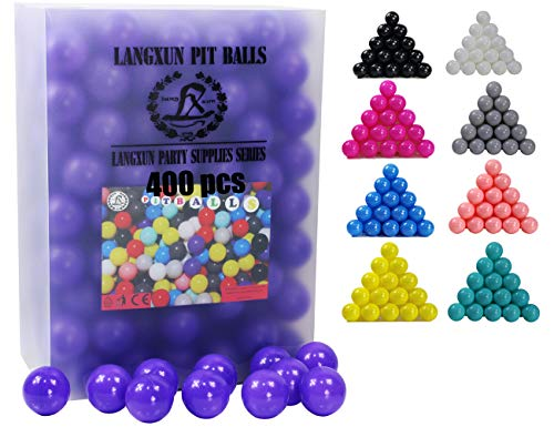 LANGXUN 400pcs Ball Pit Balls - Soft Plastic Play Balls for Babies & Toddlers for Kids, Swimming Pool Toys, Play Tents, Party Decoration, Water Balls (Purple)