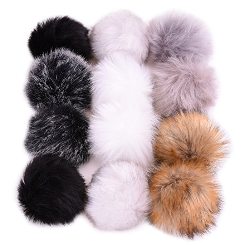 JINSEY 12pcs 4.7 Inch Faux Fox Fur Fluffy Pompom Ball For Hat Shoes Scarves Bag Charms (white, black, offwhite, gray-black, brown, gray)