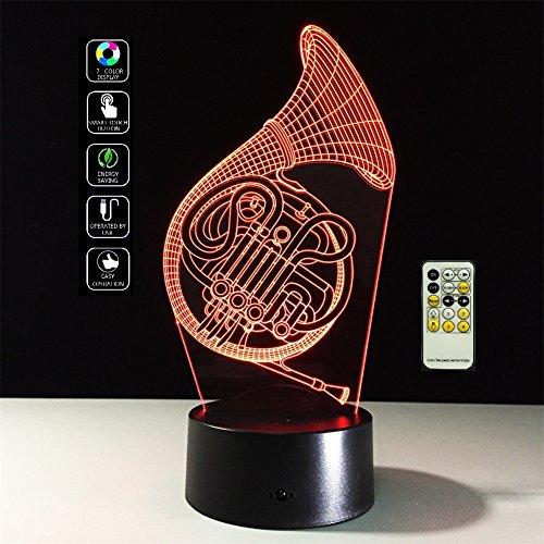 Deerbird® 3D sax effect illusie-effect of wegen met batterijen met afstandsbediening USB of 3 AA LED-licht nachtlampje met 7 kleurvarianten kinder-decoratief cadeau