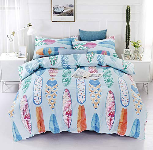 Blue Duvet Cover Set Single Bed surfboard pattern with 1 Pillow Sham - Hotel Quality 100% Microfiber - Luxurious, Comfortable, Breathable, Soft and Extremely Durable