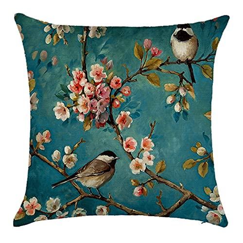 Agoble Cuscini Esterno Blu Rosa Pittura di Uccelli Con Rami di Fiori, Biancheria Cuscini Sedie 45x45cm/18x18 Inches