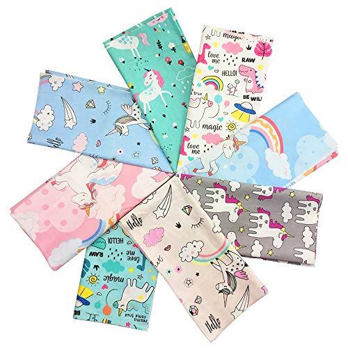 "8PCS Fat Quarters Fabric Cotton Unicorns Rainbow Horse Cartoon Printed Quilting Fabric Bundles Pre-Cut Squares Sheets for Home Decor Clothing Craft Sewing Patchwork DIY Craft 19.6"" x 19.6"""