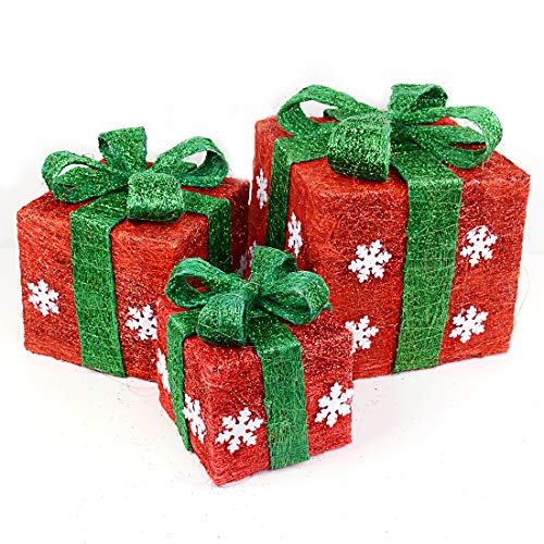 TOPNEW Set of 3 Pre-Lit Red Boxes with Green Bows,Lighted Boxes Sparkling Red Gift Boxes with Sisal Bowknot Ideal for Christmas, Weddings and Holiday Decorations