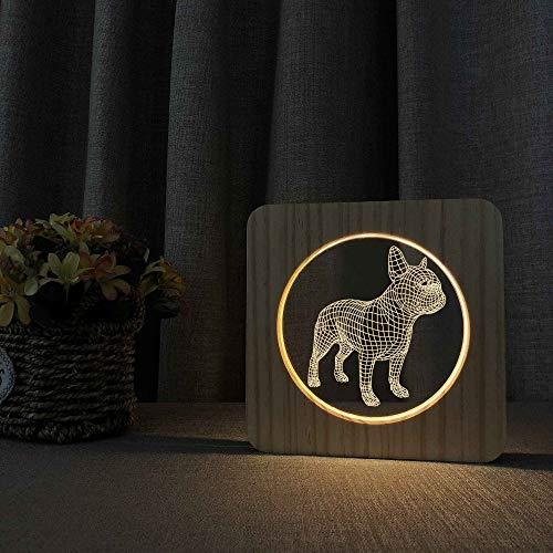 Lámpara de Mesa de Holograma Nocturno de Madera Bulldog Decoración de bebé Decoración Juguete de Regalo de envío de Amigos